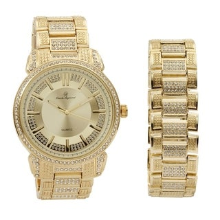 Bling Bling Mens Hip Hop with Class Watch and Matching Bracelet in Elegant Gift Box - Gold