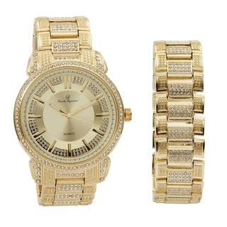 Bling Bling Mens Hip Hop with Class Watch and Matching Bracelet in Elegant Gift Box - Gold|https://ak1.ostkcdn.com/images/products/17965031/P24141265.jpg?impolicy=medium