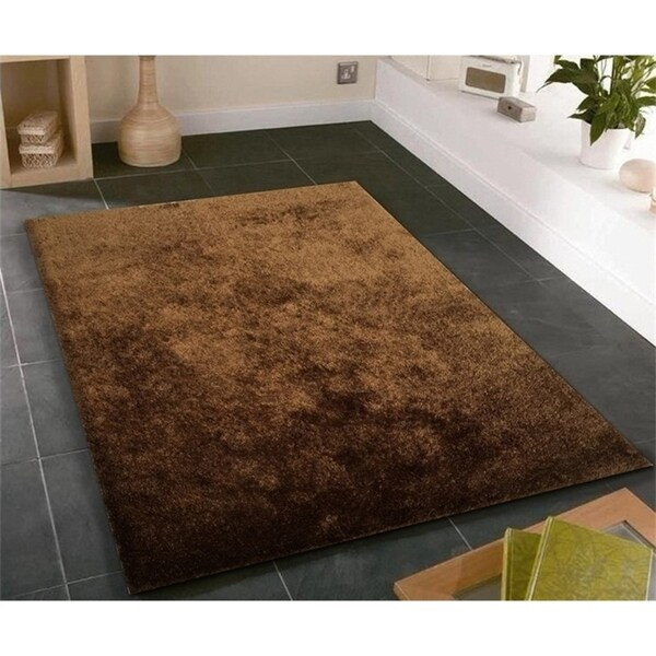 Solid Brown Shag Rug Hand Tufted Weaving, 1-inch Thickness - 5' x 7'