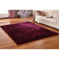Solid Magenta Shag Rug Hand Tufted Weaving, 1-inch Thickness - 5' x 7'
