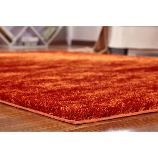 Solid Rust/Orange Shag Rug Hand Tufted Weaving, 1-inch Thickness - 5' x 7'