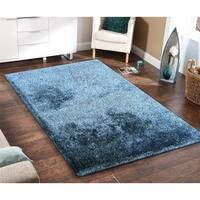 Solid 2Tone Blue Shag Rug Hand Tufted Weaving, 1-inch Thickness - 5' x 7'