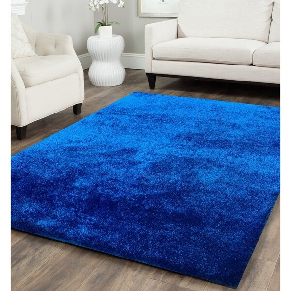 Solid Electro Blue Shag Rug Hand Tufted Weaving, 1-inch Thickness - 5' x 7'