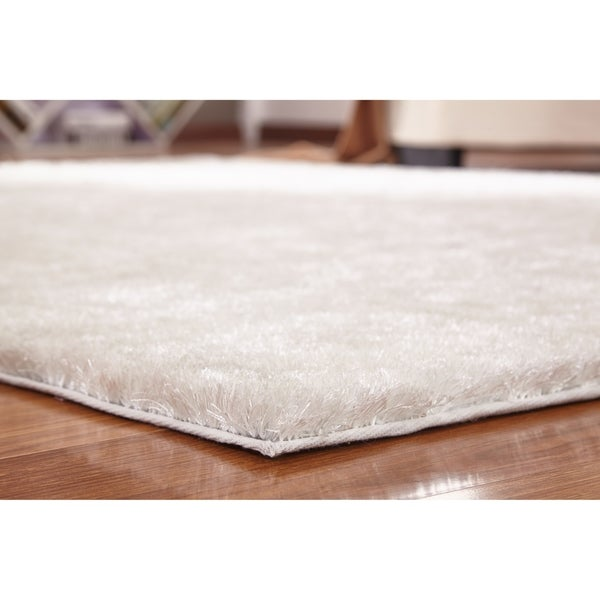 Shop Solid Snow White Shag Rug Hand Tufted Weaving 1 Inch