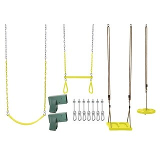 Swingan Diy Swing Set Kit - With Belt Swing, Trapeze Bar, Disc Swing And Standing Swing - Wood Beams Not Included - Yellow