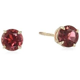 10k Yellow Gold Pink Tourmaline Round Stud Earrings