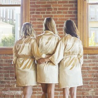 Team Bride Gold Satin Robe