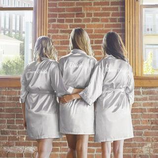 Team Bride Silver Satin Robe