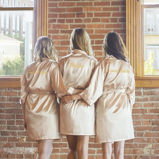 Team Bride Blush Satin Robe,