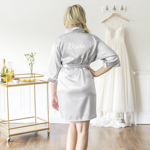 Bride Silver Satin Robe