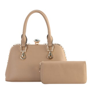Diophy Crystal Structured Tote with Wallet 2 Pieces Set (Option: Tan)