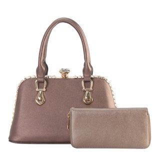 Diophy Crystal Structured Tote with Wallet 2 Pieces Set
