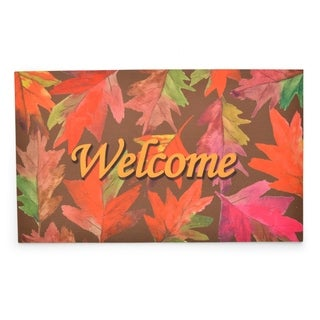 Stephan Roberts Welcome Leaves Rubber Welcome Doormat, 18''x30''
