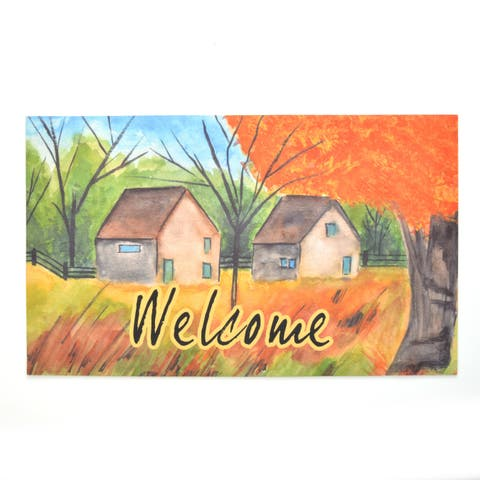 Stephan Roberts Country Autumn Rubber Welcome Doormat, 18''x30''