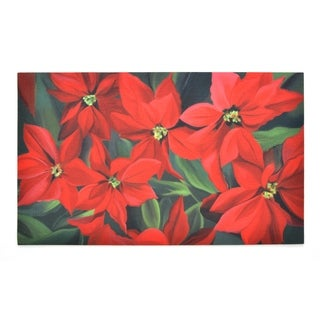 Stephan Roberts Poinsettia Rubber Doormat, 18''x30''