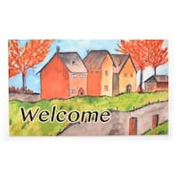 Stephan Roberts Cottages in the Fall Rubber Welcome Doormat, 18''x30''