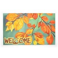 Stephan Roberts Last Leaves Rubber Welcome Doormat, 18''x30''