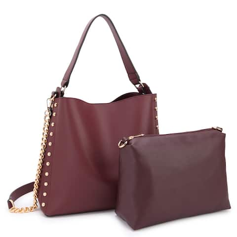 Dasein Classic Faux Leather Stud Design 2-in-1 Hobo Handbag w/Matching Accessory Pouch