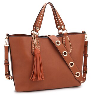 Dasein Classic Faux Leather Fringe Tassels and Grommet Tote Bag