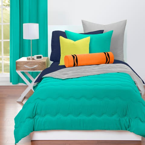 Crayola Blue Green and Timberwolf Reversible 3-piece Comforter Set