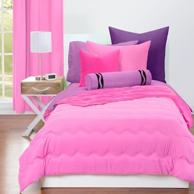 Crayola Pink Flamingo and Hot Magenta Reversible Comforter & Sham Set