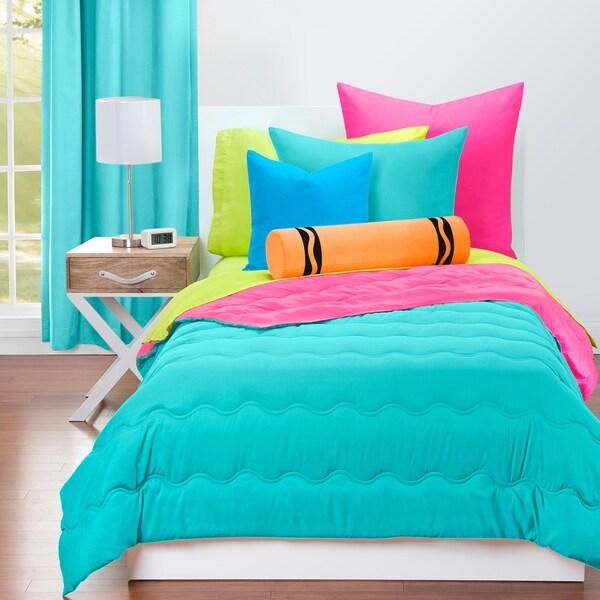 Crayola Turquoise Blue and Hot Magenta Reversible 3-piece Comforter Set