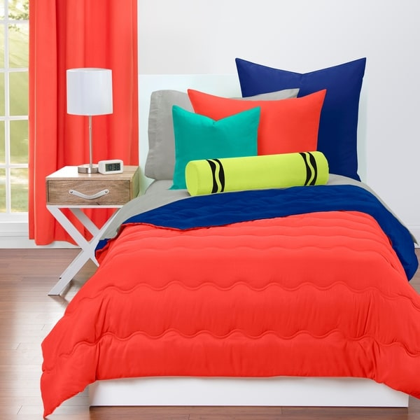 shop crayola sunset orange and blue berry blue reversible comforter free shipping today. Black Bedroom Furniture Sets. Home Design Ideas