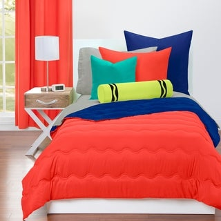 Crayola Sunset Orange and Blue Berry Blue Reversible 3-piece Comforter Set