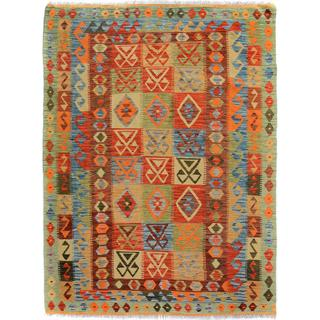 Arshs Fine Rugs Hand-Woven Kilim Arya Esteban Red/Blue Wool Rug (5'2 x 6'8)
