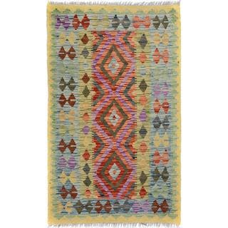 Arshs Fine Rugs Hand-Woven Kilim Arya Quentin Gold/Blue Wool Rug (2'8 x 4'0)|https://ak1.ostkcdn.com/images/products/17965150/P24141347.jpg?impolicy=medium