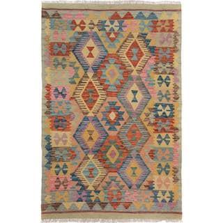 Arshs Fine Rugs Hand-Woven Kilim Arya Emmanuel Gray/Blue Wool Rug (3'11 x 5'10)
