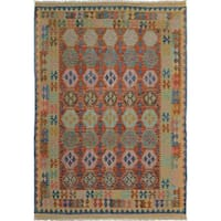 Hand-Woven Kilim Arya Clay Blue/Red Wool Rug (6'6 x 9'9) - 6 ft. 6 in. x 9 ft. 9 in.