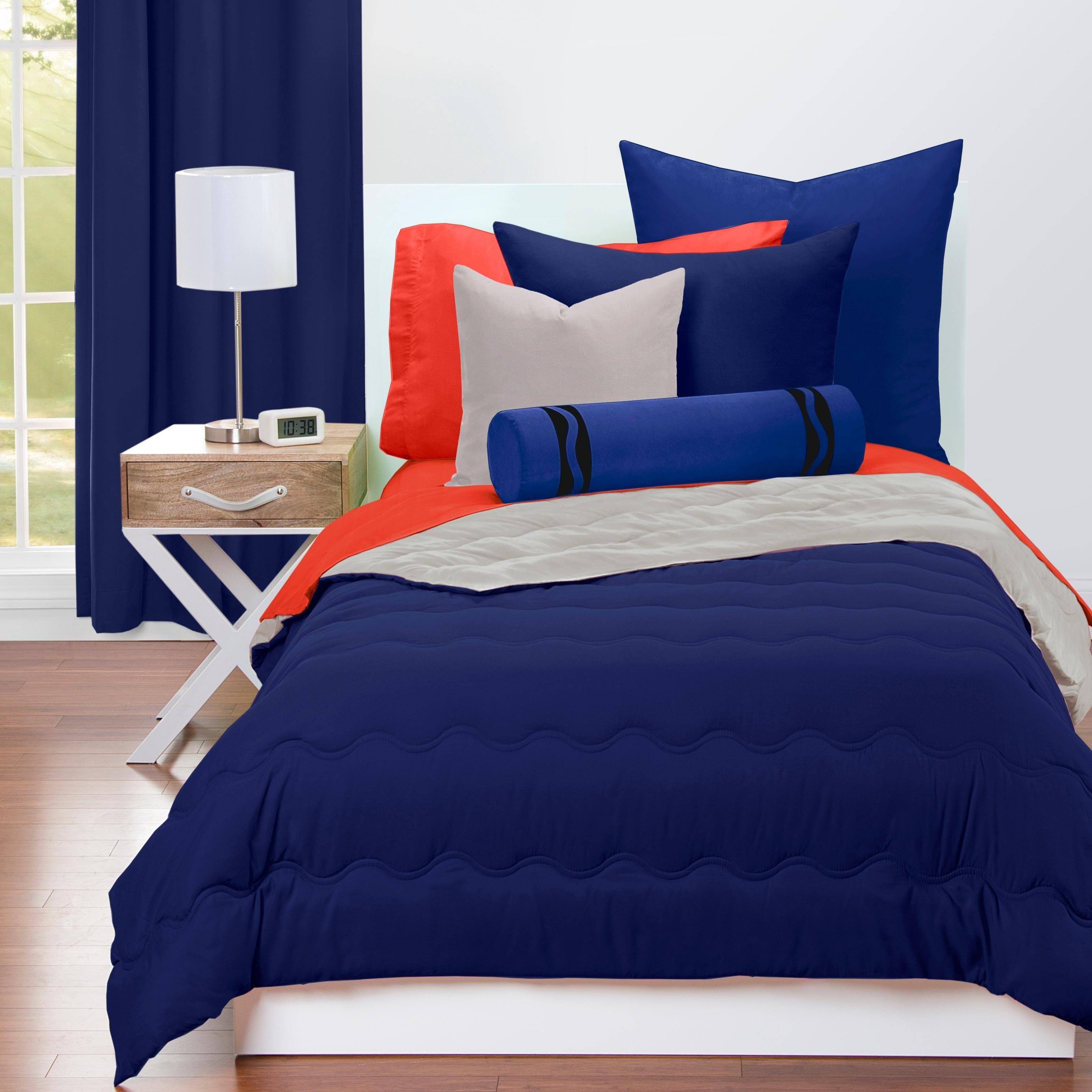 Shop Crayola Navy Blue And Timberwolf Reversible 3 Piece Comforter