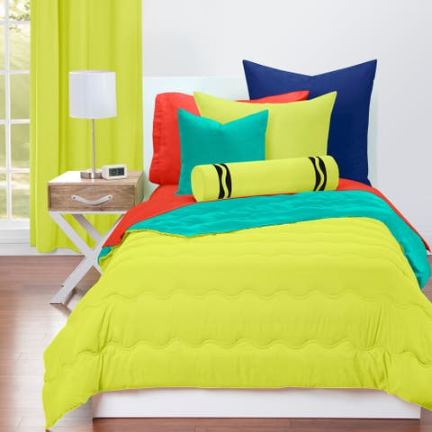 Crayola Blue Green and Granny Smith Apple Reversible 3-piece Comforter Set
