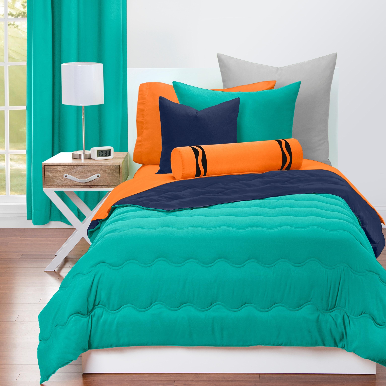 Shop Crayola Blue Green And Navy Blue Reversible 3 Piece Comforter