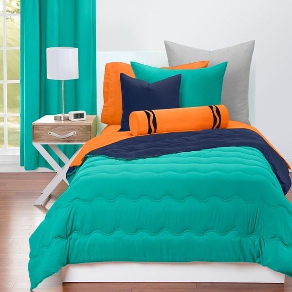 Crayola Blue Green and Navy Blue Reversible 3-piece Comforter Set