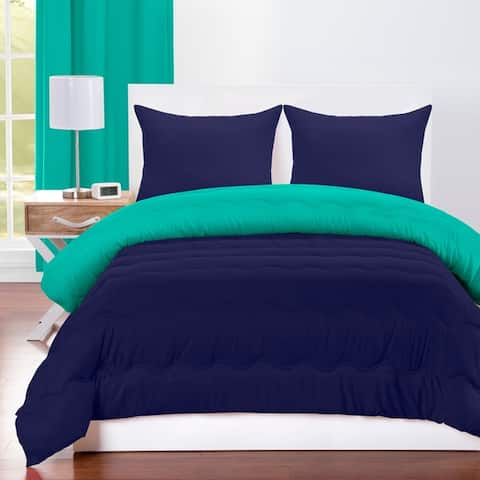 Crayola Blue Green and Navy Blue Reversible 3-piece Comforter Set
