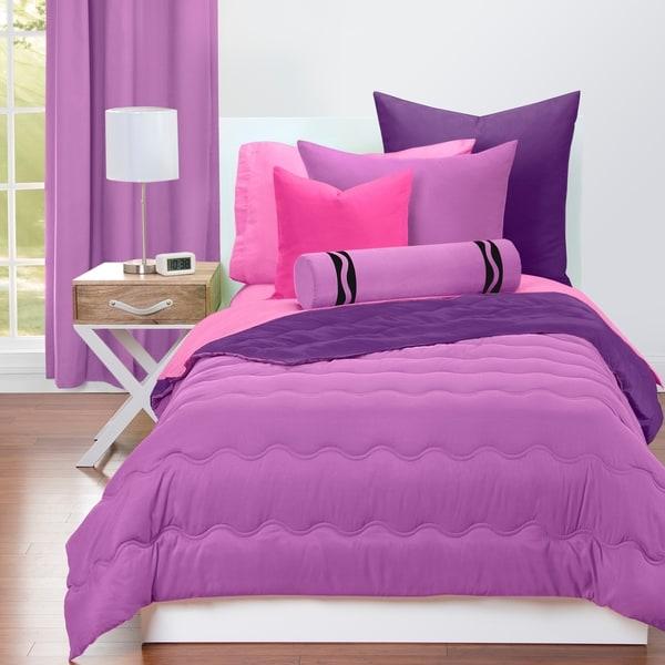 Crayola Vivid Violet and Royal Purple Reversible 3-piece Comforter Set