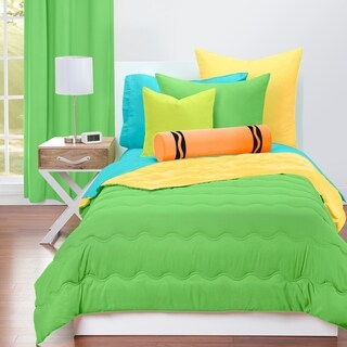 Crayola Jungle Green and Laser Lemon Reversible 3-piece Comforter Set
