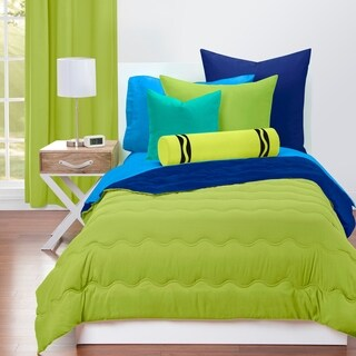 Crayola Spring Green and Blue Berry Blue Reversible 3-piece Comforter Set (2 options available)