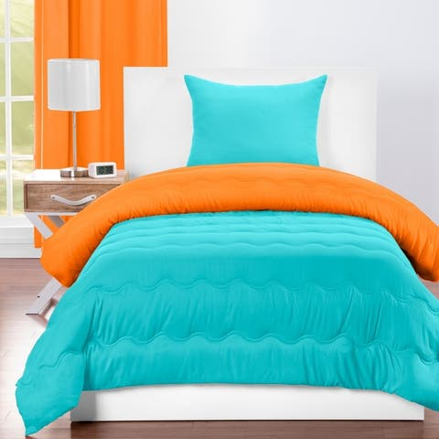 Crayola Outrageous Orange and Turquoise Blue Reversible 3-piece Comforter Set