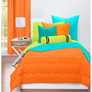 Crayola Outrageous Orange And Turquoise Blue Reversible 3 Piece Comforter Set