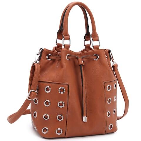 Dasein Drawstring Bucket Satchel Handbag with Grommet Design