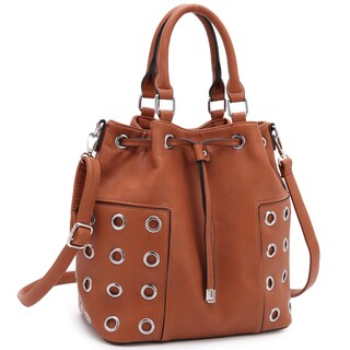 Dasein Drawstring Bucket Satchel Handbag with Grommet Design