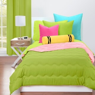 Crayola Spring Green and Tickle Me Pink Reversible 3-piece Comforter Set