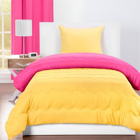 Crayola Hot Magenta and Laser Lemon Reversible 3-piece Comforter Set