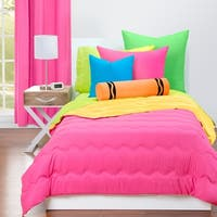 Crayola Hot Magenta and Laser Lemon Reversible 3-piece Comforter Set