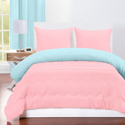 Crayola Sky Blue and Tickle Me Pink Reversible 3-piece Comforter Set