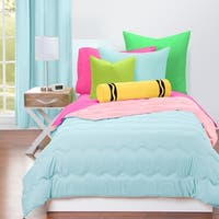 Crayola Sky Blue and Tickle Me Pink Reversible 3-piece Comforter Set