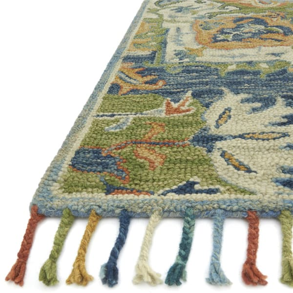 Hand Hooked Blue Green Medallion Wool Area Rug With